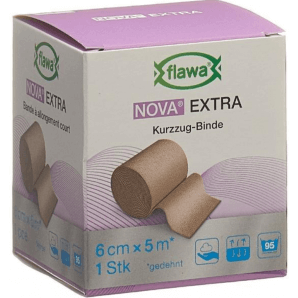 FLAWA NOVA EXTRA Kurzzugbinde Hautfarbig 6cmx5m (1Stk)