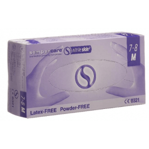 Sempercare nitrile skin gloves size M, blue, powder-free (200 pcs)