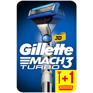 Gillette Mach3 Turbo 3D Razor with 2 Blades (1 pc)