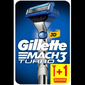 Gillette Mach3 Turbo 3D Rasierapparat mit 2 Klingen (1 Stk)