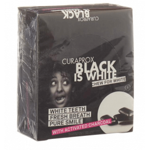Curaprox Black is White chewing-gum blister display (12x12 pièces)
